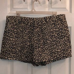 Size 12 Cynthia Rowley leopard print linen shorts